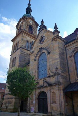bayern old town: church on a square in pegnitz in germany