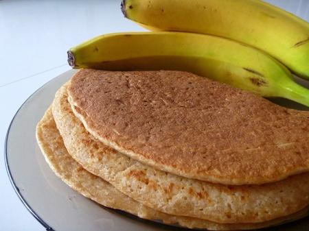 a preparation of tasty homemade banana pancakes