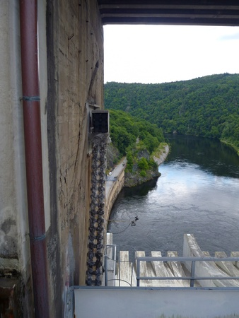 outflow: an outflow from slapy dam in czech republic