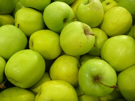 green apples: a heap of fresh round green apples
