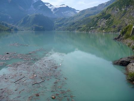 the stausee mooserboden dam in austrian alps