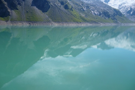 famous industries: the stausee mooserboden dam in austrian alps