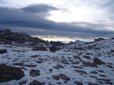 great danger: a beautiful rocky alpine landscape with snow Stock Photo
