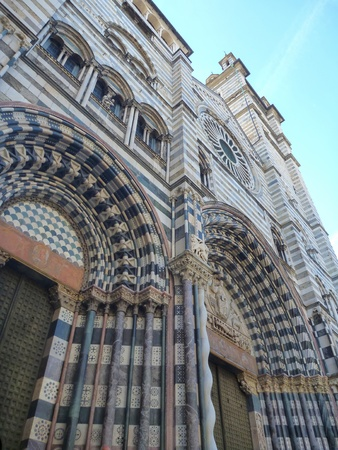 lorenzo: entrance to the san lorenzo cathedral in genova in italy