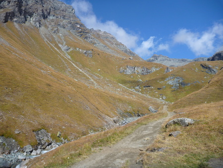 grossglockner: grassy slopes under grossglockner mountain in austria
