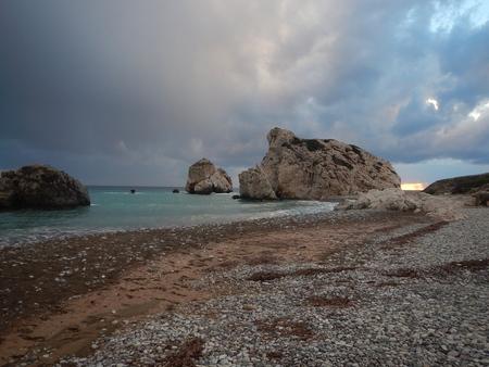 tou: rock petra tou romiou, legendary birthplace ofgodess aphrodite in cyprus