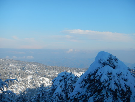 winter season snowy troodos mountains in cyprus