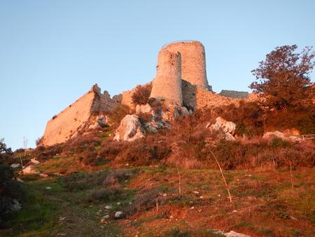 medieval kantara castle in cyprus in a romanric sunrise Stock Photo