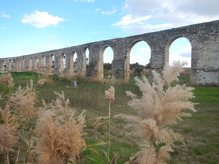 old abandonec aquaduct in larnaka in cyprus