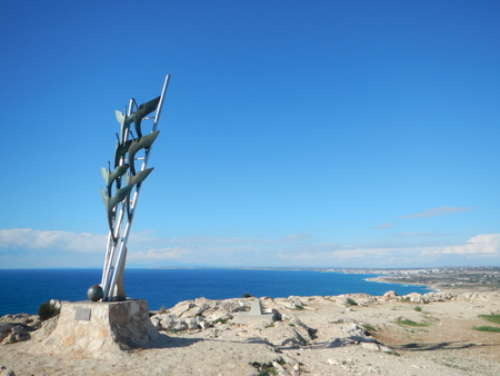 monument on the kavos hill in cavo greko in cyprus Stock Photo