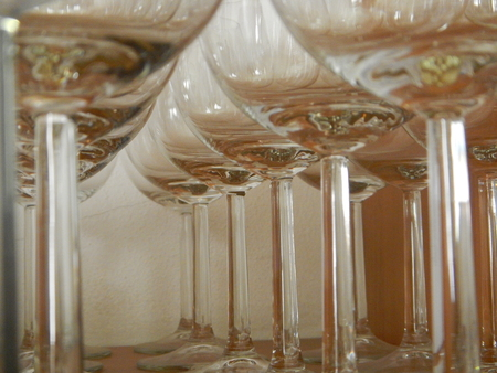 bar ware: a simple detail of wine empty glasses