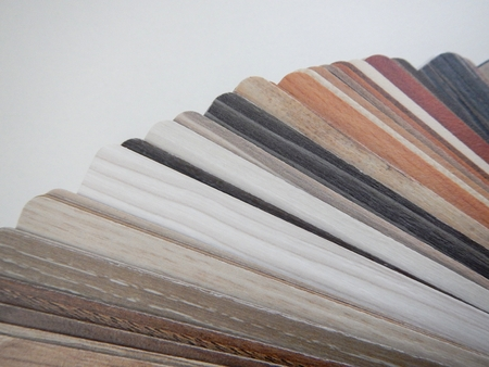 louver boards: a variety of small wooden boards as a samples Stock Photo