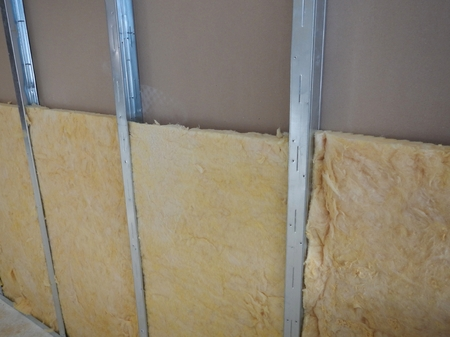 indoor reconstruction of a partitioning system with rock wool isolation Reklamní fotografie
