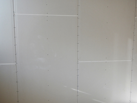 indoor reconstruction of a partitioning system with rock wool isolation Stock Photo