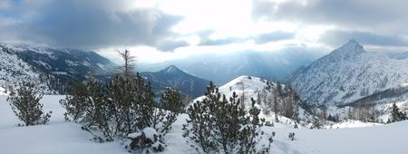 beautiful winter landscape of totes gebirge mountains in austria
