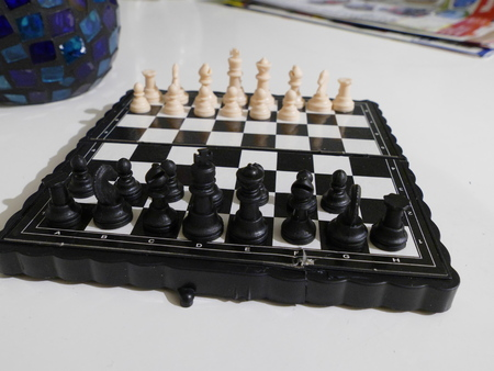 outwit: black and white chess figures for game Stock Photo