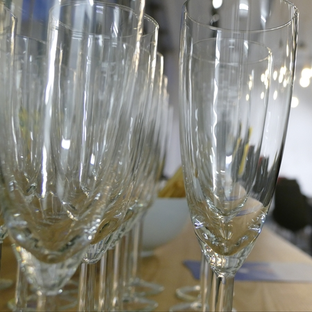 crystal background: many pure transparent wine glasses prepared for a party Stock Photo