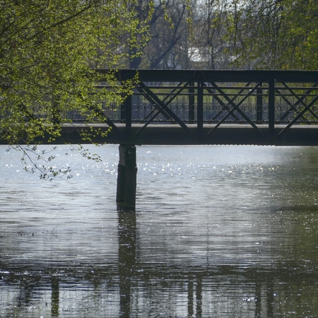 rushy: a bridge in a city park recletced in a lake water