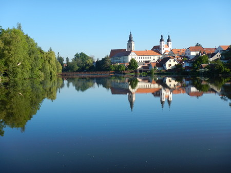 moravia: lake in telc in czech republic with reflected city