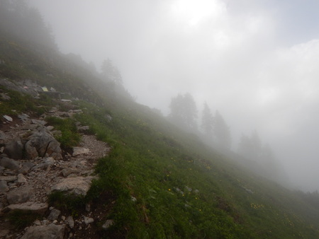 humid: beautiful alpine natural landscale in a foggy weather Stock Photo