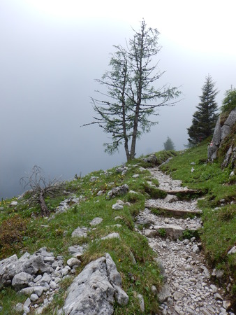 beautiful alpine natural landscale in a foggy weather Stock Photo