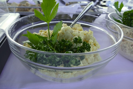 big glass bowl of egg spread as a catering