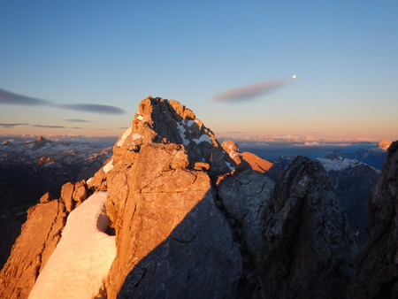 beautiful adventure climbing mountain ridge watzmann in germany