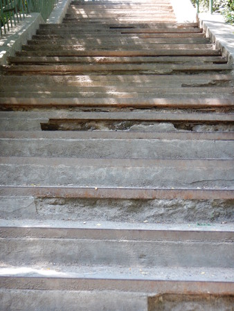 the aftermath: a detail of a weathered outdoor staircase
