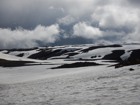Snowy mountain plateau at fimmvorduhals in iceland Stock Photo