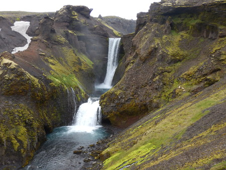 wonderfull: Beautiful waterfalls cascade at the river Skoga in Iceland