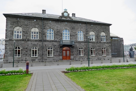 the icelandic parliament building in reakjavik  city Editorial