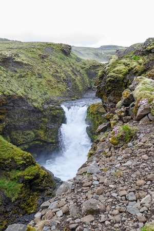 wonderfull: amazing waterfalls cascade at river skoga in Iceland