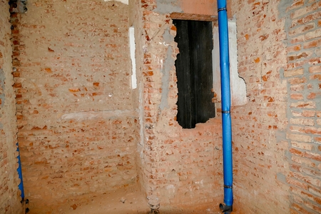 dirty room: total reconstruction of an interior of a historic building Stock Photo