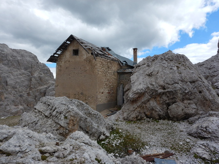 old ruin of a war house in dolomites at tofana Stock Photo