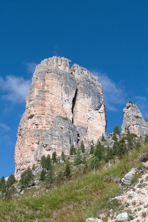 croda da lago mountain in dolomites in italy