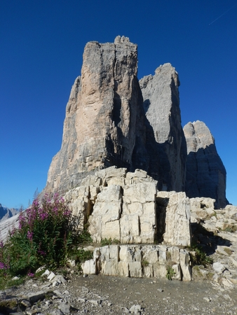 climbing in tre cime di lavaredo in dolomites in italy Stock Photo