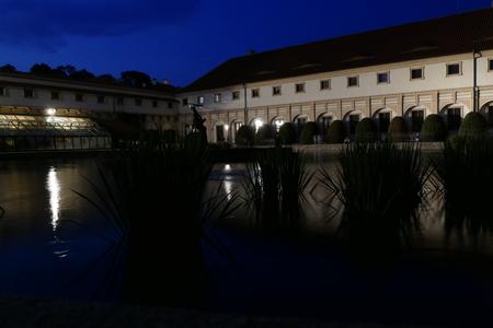 gloss: valdstej pallace and garden in prague night scenery