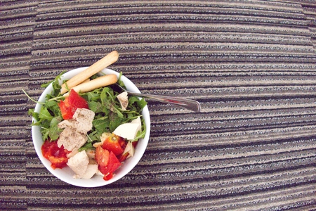 a fresh raw vegetable salad as a healthy snack