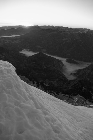 beautiful romantic sunrise view form the summit of Grosser Priel