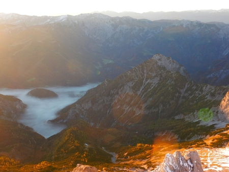 beautiful romantic sunrise view form the summit of Grosser Priel