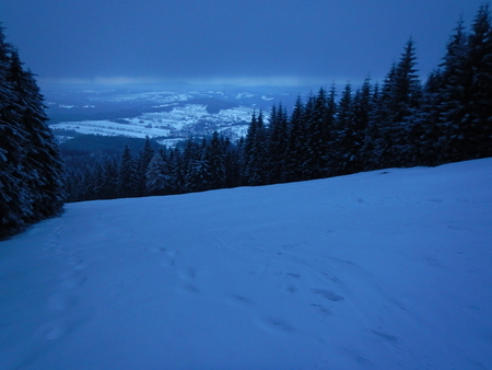 beautiful winter landscape in the alps with snow