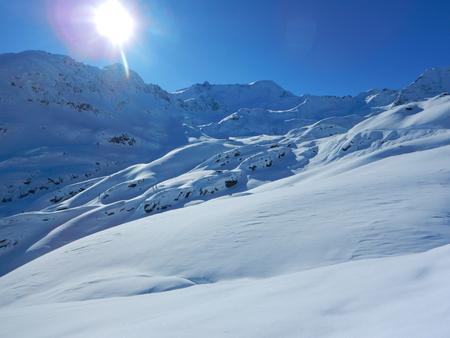 skitouring in beautiful snowy alps in kaunertal in tirol Stock Photo