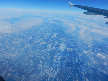 aerial view of  a frozen landscape from an airplane Stock Photo