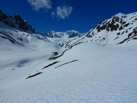 beautiful early spring skitouring in otztal alps in austria