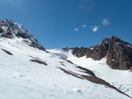 beautiful glacier hike and clim to Weisskugel mountain from Melag Stock Photo