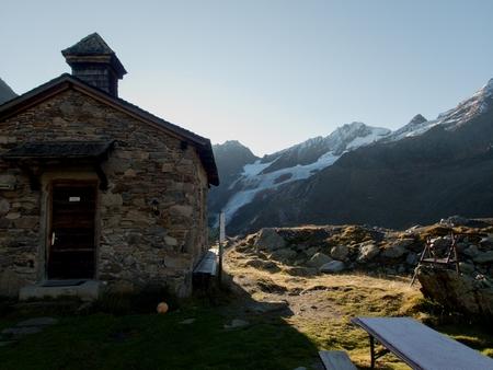 a stone small church by weisskugelhutte in otztal alps