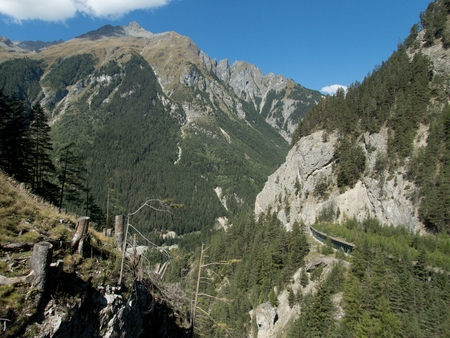 historical fort nauders in austria wit a landscape trail