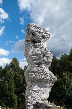 a limestone rock tower in natural park in poland