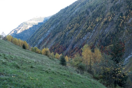 autumn hike to grosses Wiesbachhorn in glocknergruppe  hohe tauern in austria from Kaprun around mooserboden dam and heinrich schweiger haus hutte