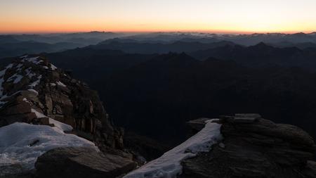 beautiful sunrise panorema from grosses wiesbachhorn in austria in glocknergruppe